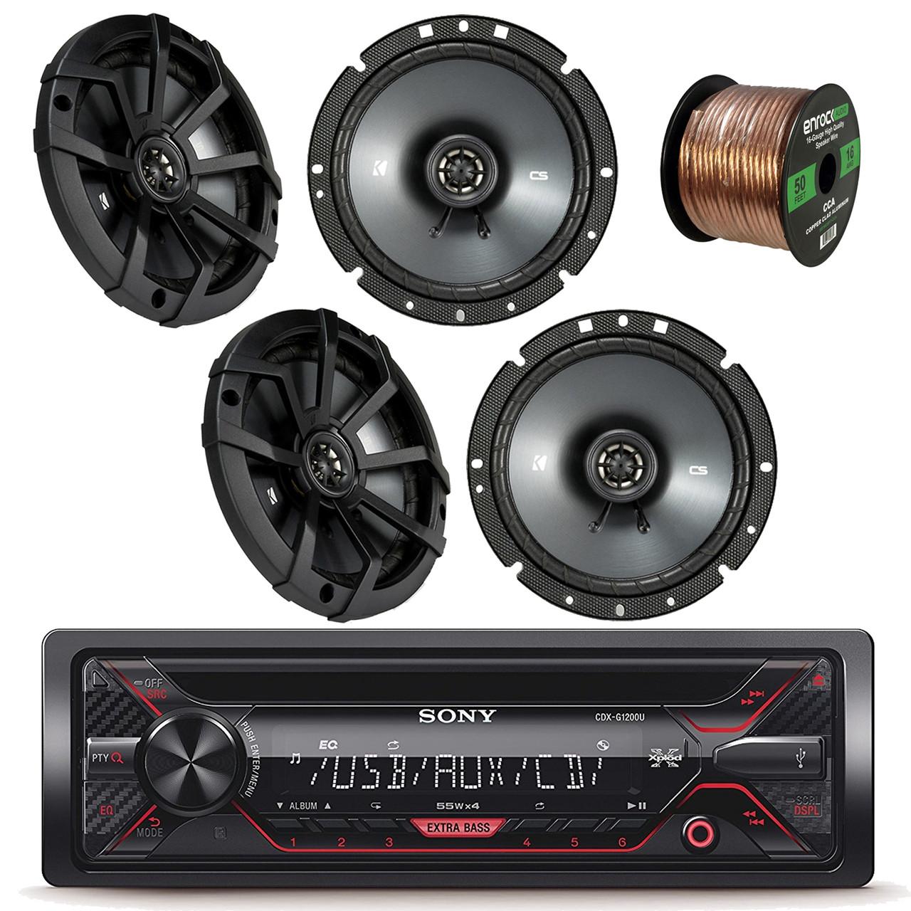 sony xplod cdxg1200u receiver with 52x4 watt amp with kicker 43csc674 6 3 4 inch 600 watt cs series black car coaxial speakers 2 pairs enrock audio  [ 1280 x 1280 Pixel ]