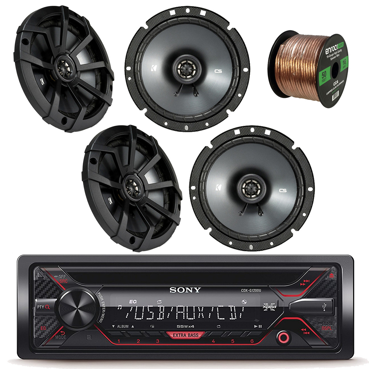 hight resolution of sony xplod cdxg1200u receiver with 52x4 watt amp with kicker 43csc674 6 3 4 inch 600 watt cs series black car coaxial speakers 2 pairs enrock audio