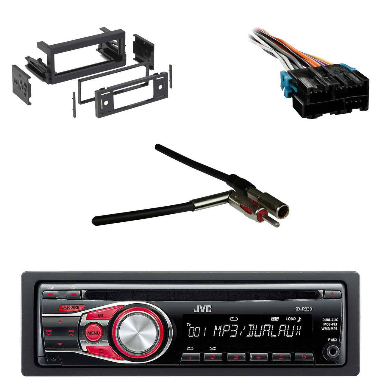 hight resolution of jvc kdr330 cd aux car radio antenn adapter gm wire harness gmjvc kdr330