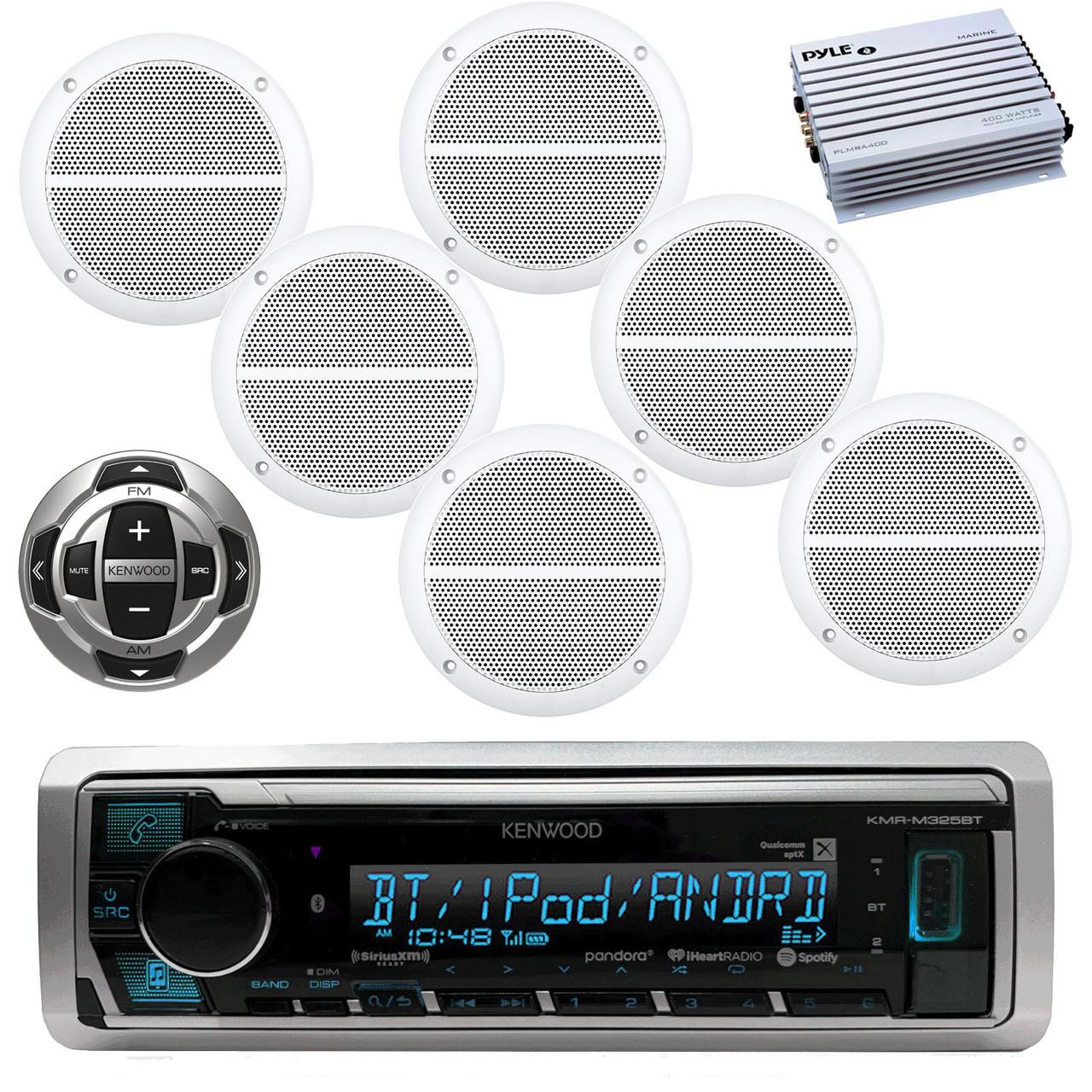 hight resolution of kenwood marine digital media bluetooth receiver 6x enrock marine 6 5 weather resistant speakers white pyle 4 channel waterproof amplifier white
