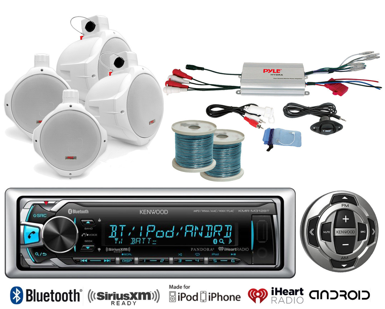 small resolution of 8 marine speakers w wiring kenwood bluetooth usb radio remote marine amplifier road entertainment