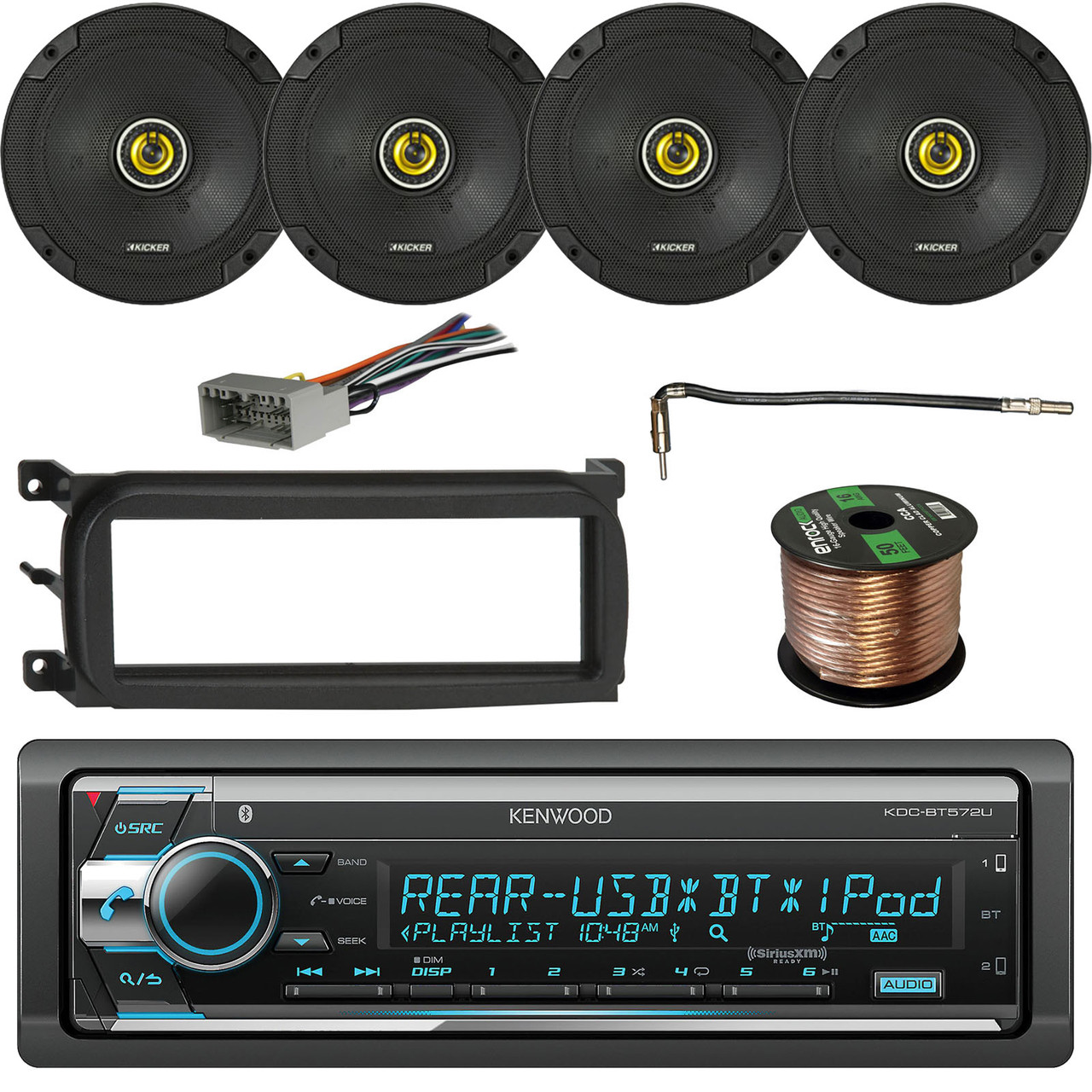 kenwood stereo receiver bluetooth w kicker 600w speakers 2 pairs enrock single din dash kit for chry dodge jeep metra chrysler antenna adapter cable  [ 1280 x 1280 Pixel ]