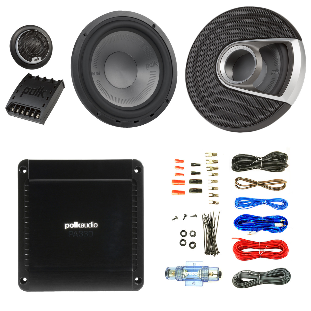 medium resolution of 2x polk audio mm1 mm6502 series 375w ultra marine certified 6 5 component speaker system pa330 330w 2 channel car amplifier enrock audio 16 gauge 50 foot