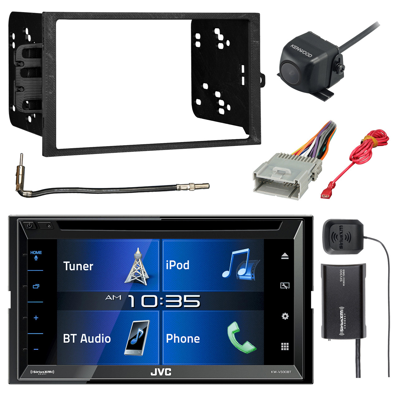 jvc kw v330bt 6 8 double din bluetooth dvd cd am fm stereo siriusxm satellite vehicle tuner kit kenwood backup camera metra double din install dash kit  [ 1280 x 1280 Pixel ]