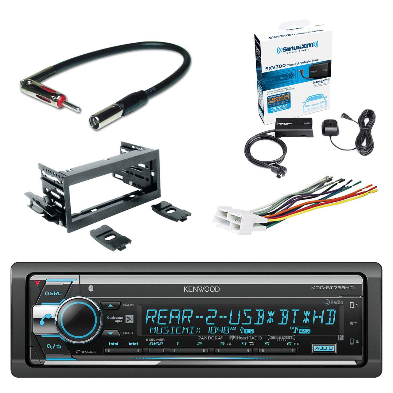 kenwood single din cd am fm car audio receiver with bluetooth xm radio wiring harness adapter [ 1280 x 1280 Pixel ]