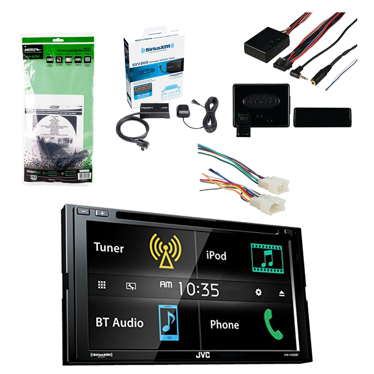 jvc 6 8 inch lcd touchscreen 2 din bluetooth car stereo receiver w siriusxm satellite radio vehicle tuner kit metra multi dash kit radio wiring harness  [ 1280 x 1280 Pixel ]