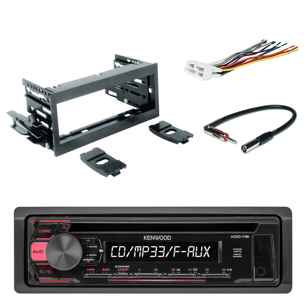 hight resolution of kenwood in dash single din cd player aux car stereo receiver with scosche dash kit scosche gm micro delco antenna adapter and scosche radio wiring harness