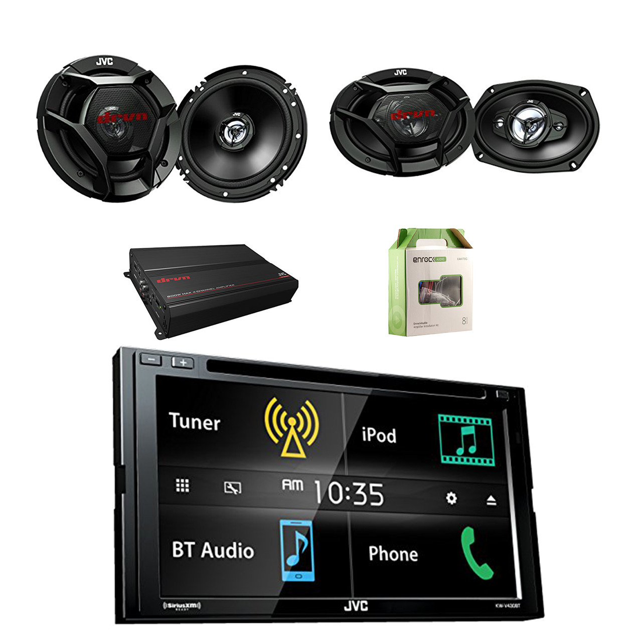 jvc double din bluetooth lcd touchscreen mp3 car stereo receiver w jvc 2 way factory upgrade coaxial speakers pair jvc 4 way speakers pair jvc 4 chan dr  [ 1280 x 1280 Pixel ]