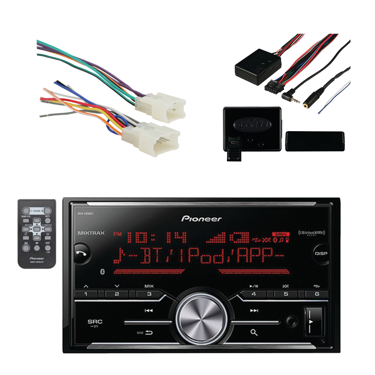 hight resolution of pioneer vehicle digital media double din receiver with bluetooth black with metra radio wiring harness for toyota 87 up power 4 speaker and metra axxess