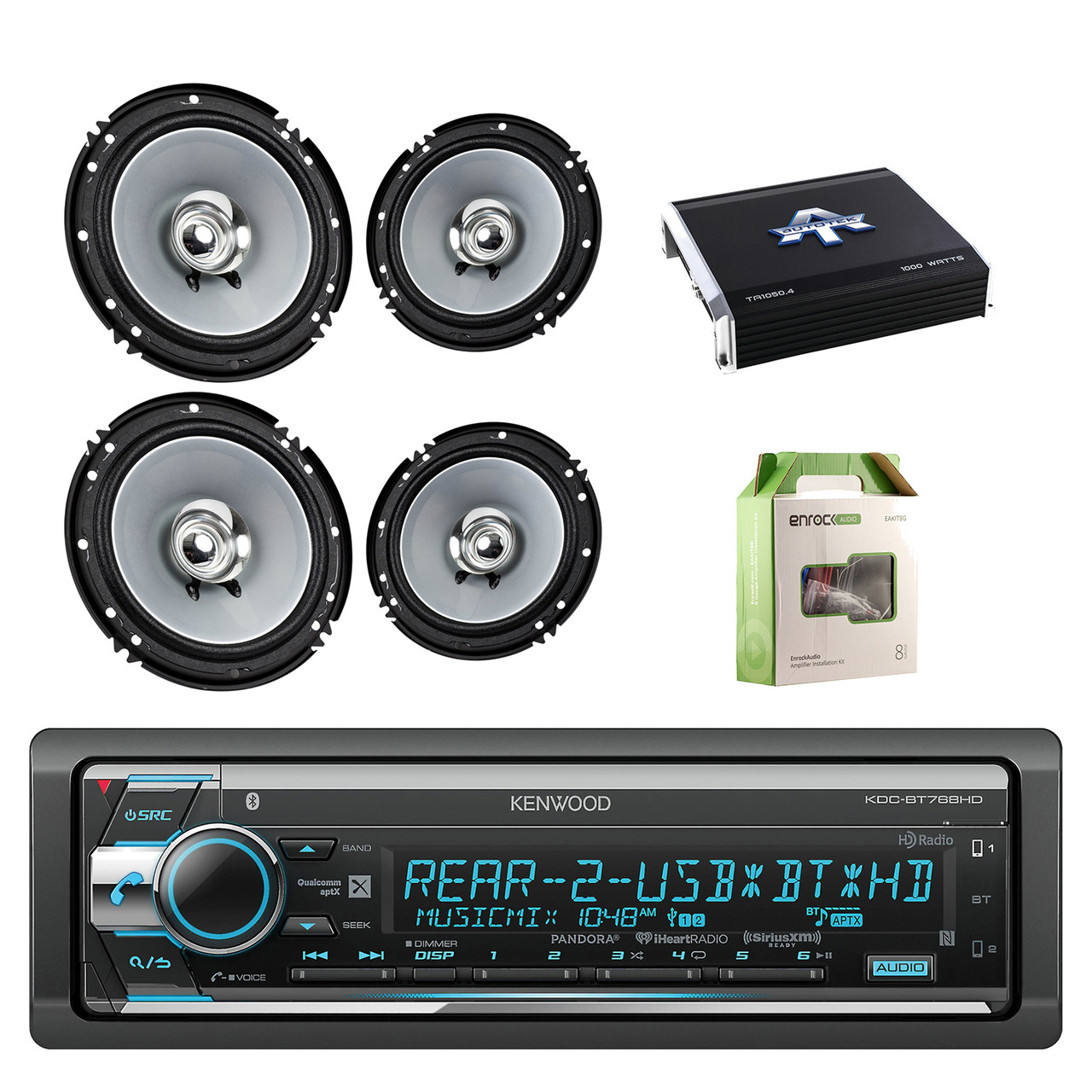 kenwood single din cd am fm car audio receiver w bluetooth with kenwood 6 5 inch 2 way 600 watts car audio coaxial speakers stereo 2 pairs  [ 1280 x 1280 Pixel ]
