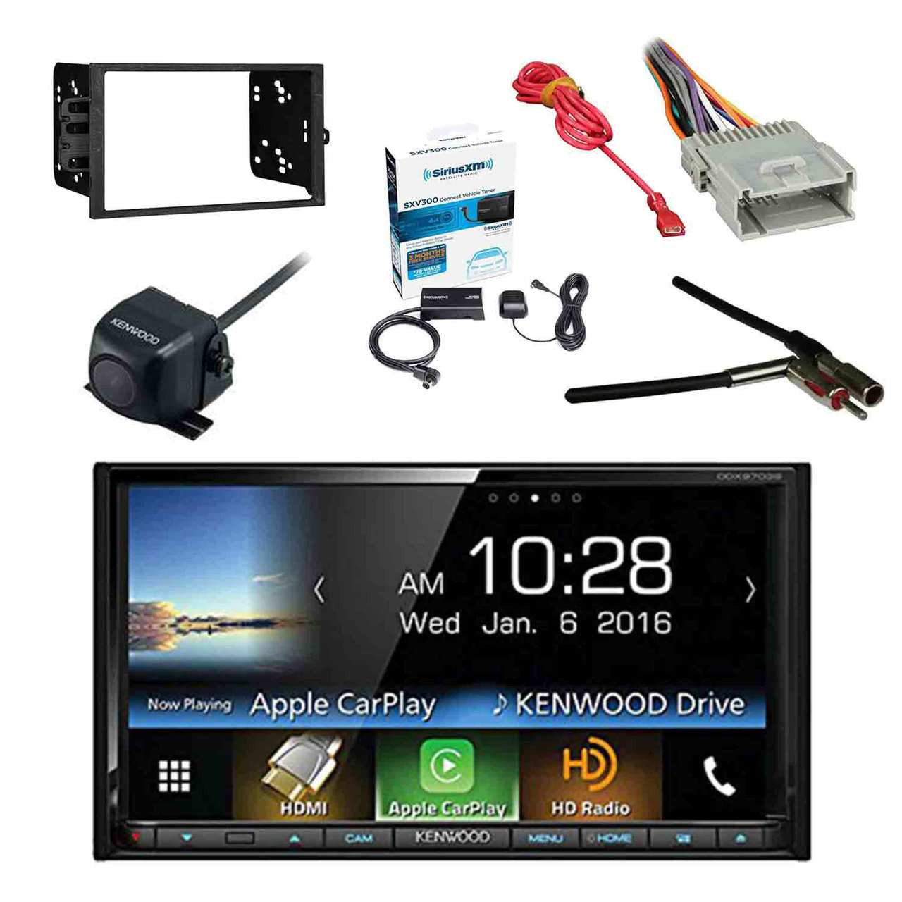 kenwood ddx9703s 2 din dvd cd am fm car stereo receiver w sirius radio tuner kenwood rearview wide angle camera metra 2din dash kit for radio  [ 1280 x 1280 Pixel ]