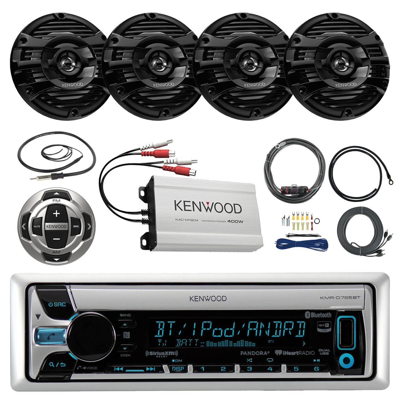 21 29 pontoon boat marine system kenwood kmr d768bt bluetooth receiver 4 x 6 5 speakers 4 channel amplifer kenwood wired remote t spec v8 series  [ 1280 x 1280 Pixel ]