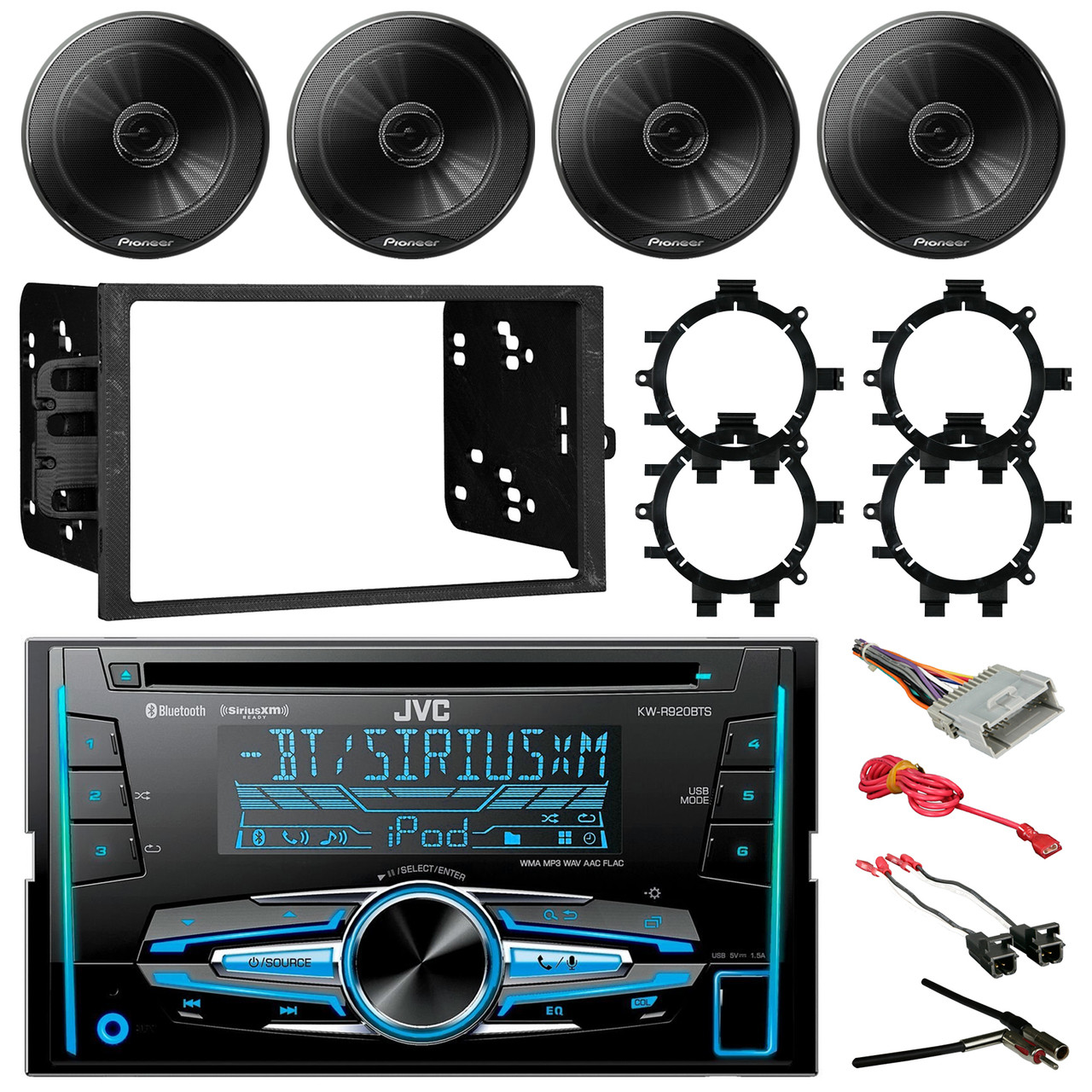 jvc kw r920bts double din bluetooth car cd player stereo receiver bundle combo with 4x 6 5 inch 250w coaxial speakers w brackets 4x wiring harness  [ 1280 x 1280 Pixel ]