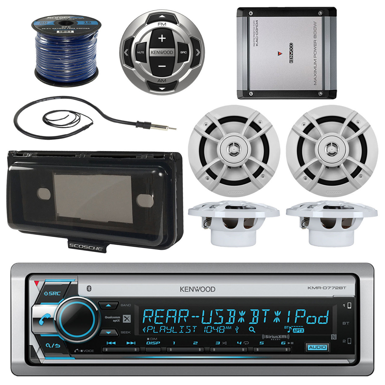 medium resolution of kenwood usb cd bluetooth boat radio remote 6 5 speakers wires amp antenna cover mbnpn498 road entertainment