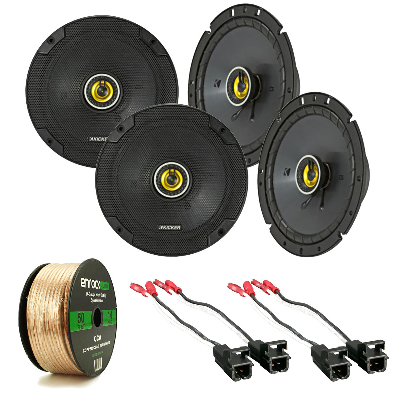 hight resolution of 8x kicker 6 3 4 car speakers 2x speaker wire harness 14 awg 50ft wire r 40cs674 2 72 4568 road entertainment