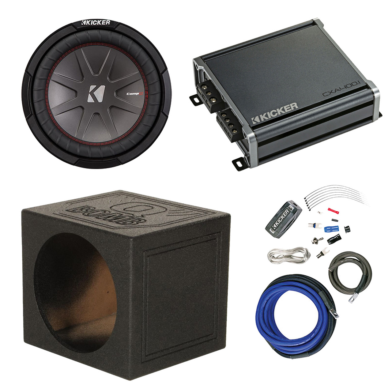 medium resolution of kicker 10 4 ohm car audio subwoofer 600 watt amp 10 sub box amp wiring kit r 43cwr104 1 43cxa3001 road entertainment
