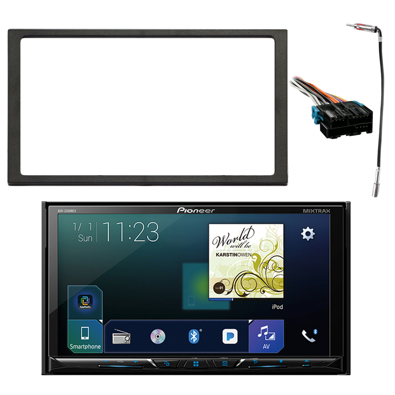 hight resolution of pioneer double din multimedia dvd bluetooth siriusxm ready receiver w 7 wvga display enrock double din install dash kit metra radio wiring harness