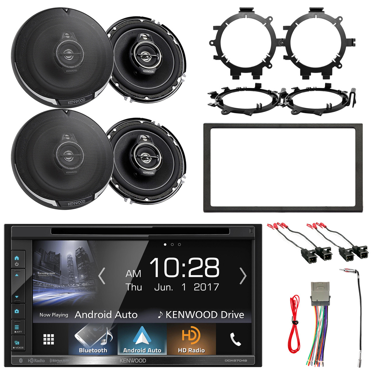 small resolution of kenwood 2 din bluetooth hd am fm receiver 4x 6 5 3 way speakers 4x speaker wire harness 4x speaker mounting brackets dash kit stereo wiring harness