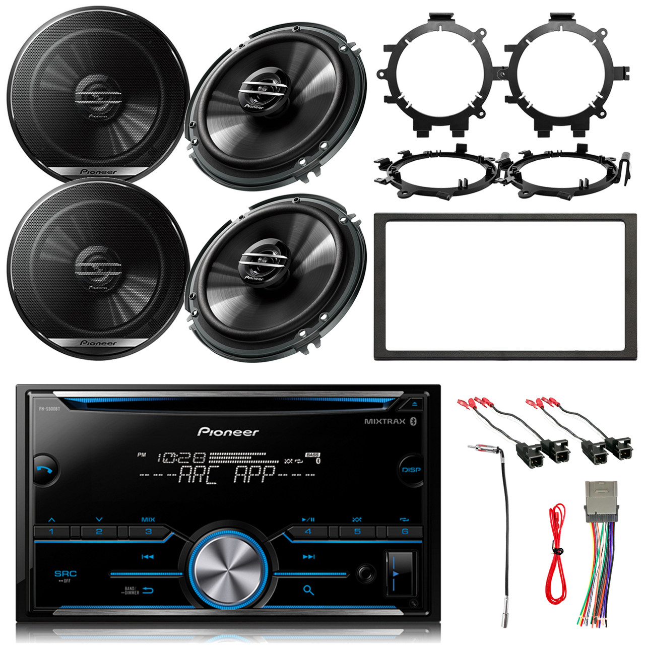 hight resolution of pioneer double din bluetooth mixtrax cd receiver 4x 6 5 speakers enrock dash kit stereo wiring harness antenna adapter 4x speaker wire harness