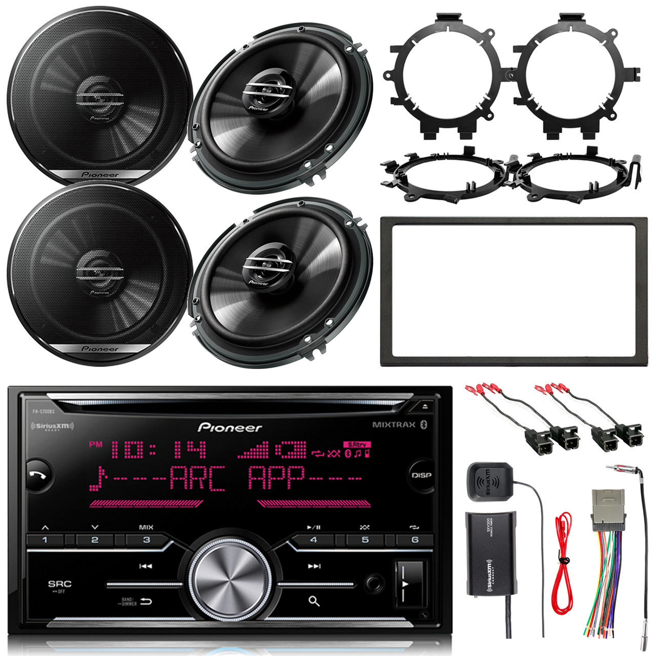 pioneer 2din cd bluetooth receiver 4x 6 5 speakers dash kit stereo wiring harness antenna adapter siriusxm radio tuner 4x speaker wire harness  [ 1280 x 1280 Pixel ]