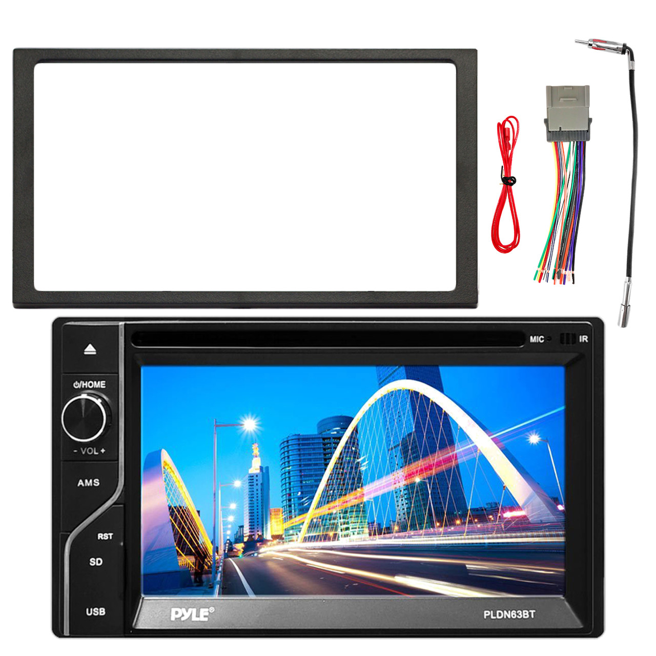 pyle 6 5 touch screen tft lcd monitor mp3 usb am fm bluetooth receiver enrock double din installation dash kit enrock stereo wiring harness  [ 1280 x 1280 Pixel ]