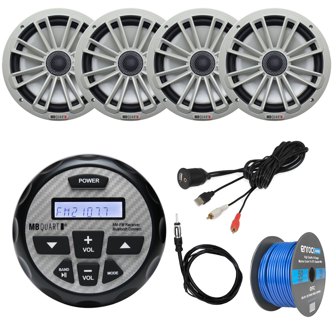 bay boat audio package mb quart gmr 2 5 waterproof am fm bluetooth gauge source unit receiver 2x 8 2 way coaxial marine speakers pair silver  [ 1280 x 1280 Pixel ]