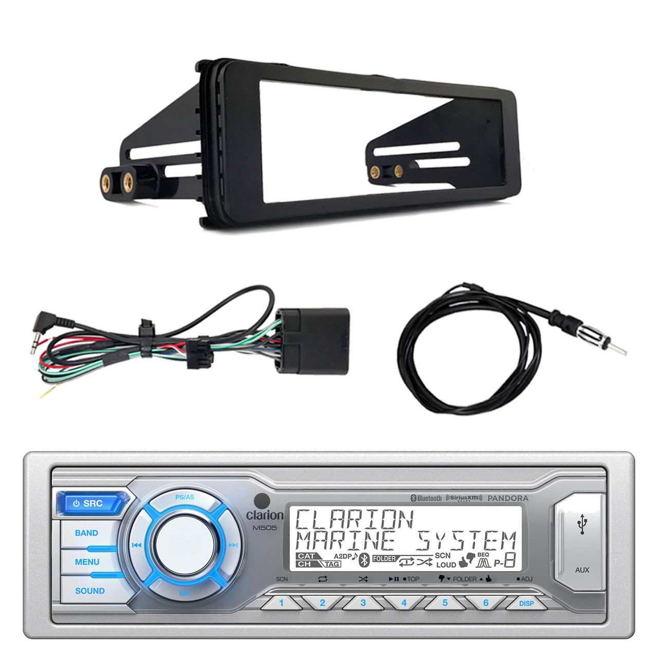 hight resolution of clarion m505 marine bluetooth radio siriusxm tuner harley dash kit wire harness for clarion m505