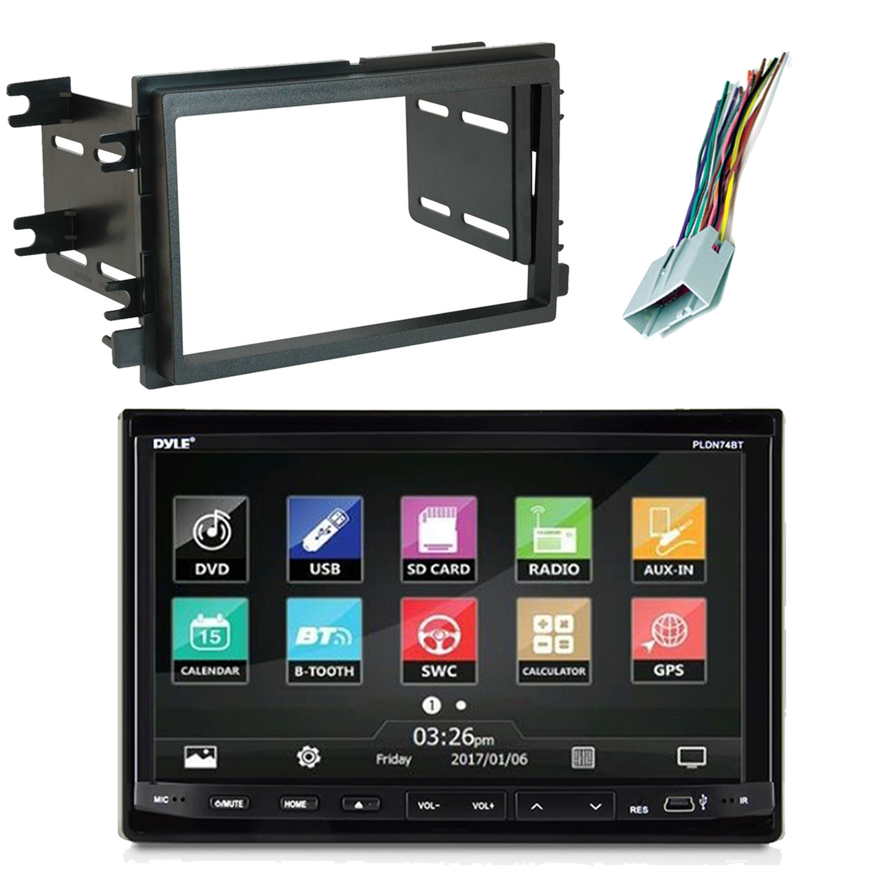 pyle double din touchscreen bluetooth cd radio scosche dash kitpyle double din touchscreen bluetooth cd [ 1280 x 1280 Pixel ]