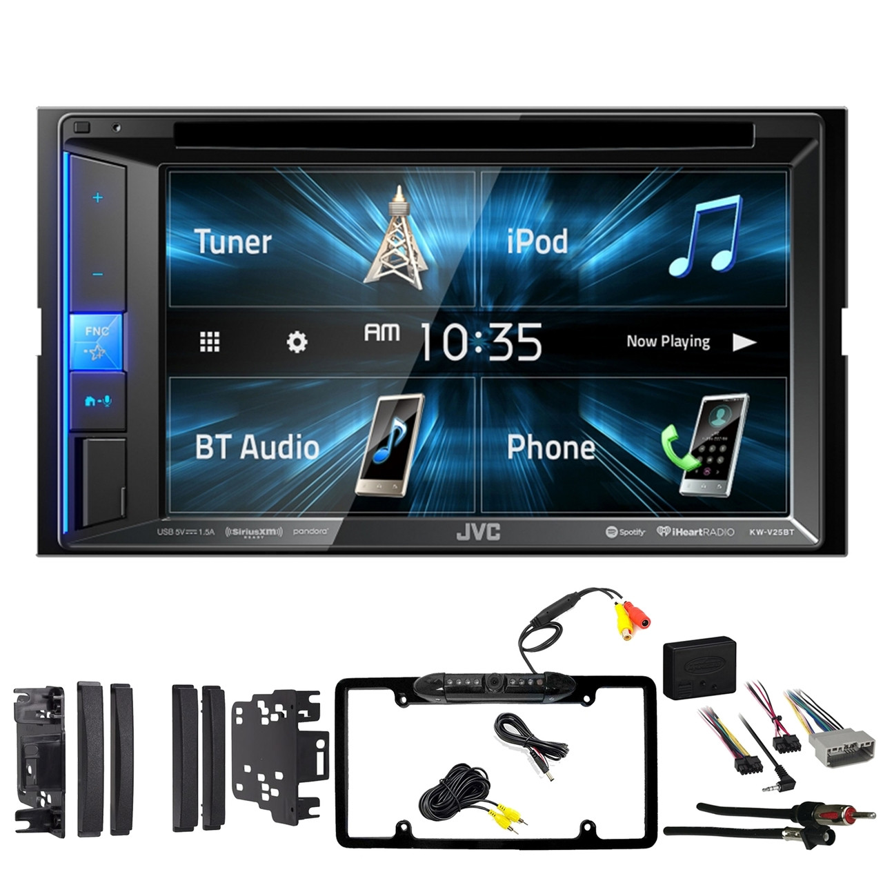 jvc kw v25bt 6 2 double din bluetooth touchscreen stereo receiver metra dash kit for select 2007 up chrysler vehicles wiring interface antenna adapter  [ 1280 x 1280 Pixel ]
