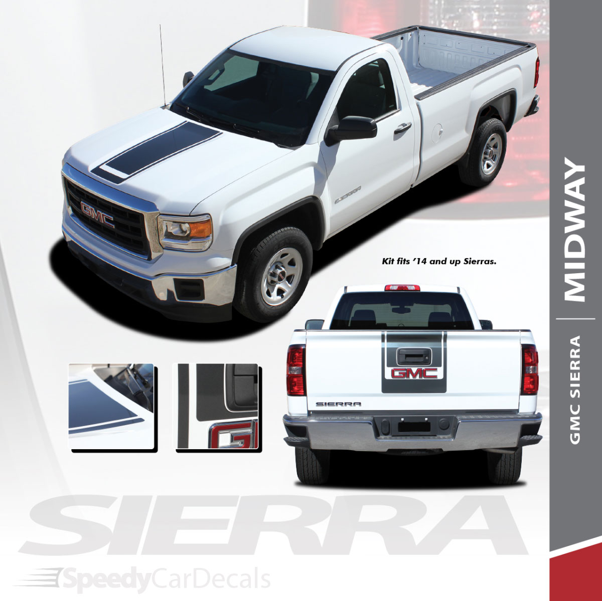 midway 2014 2018 gmc sierra center hood tailgate vinyl graphic decal racing stripe [ 1200 x 1199 Pixel ]