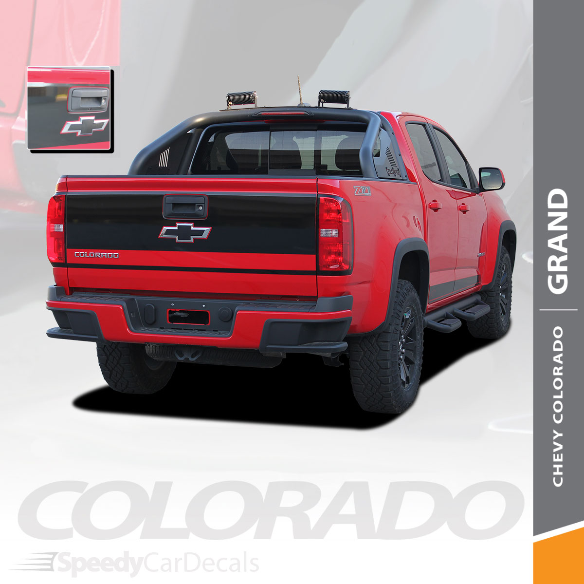 grand 2015 2019 chevy colorado rear tailgate blackout accent vinyl graphic package decal stripe  [ 1200 x 1199 Pixel ]