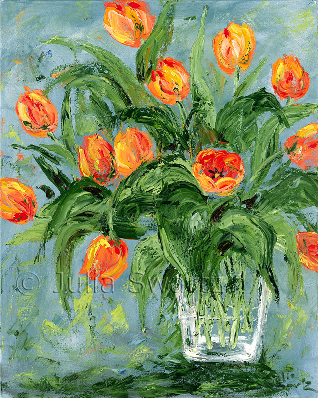 Impressionist Oil Painting : impressionist, painting, Orange, Spring, Tulips, Flower, Painting