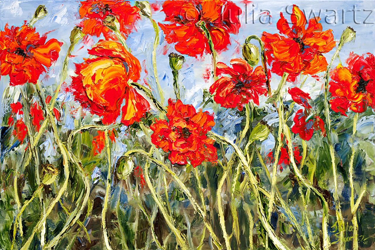 poppies row ii flower