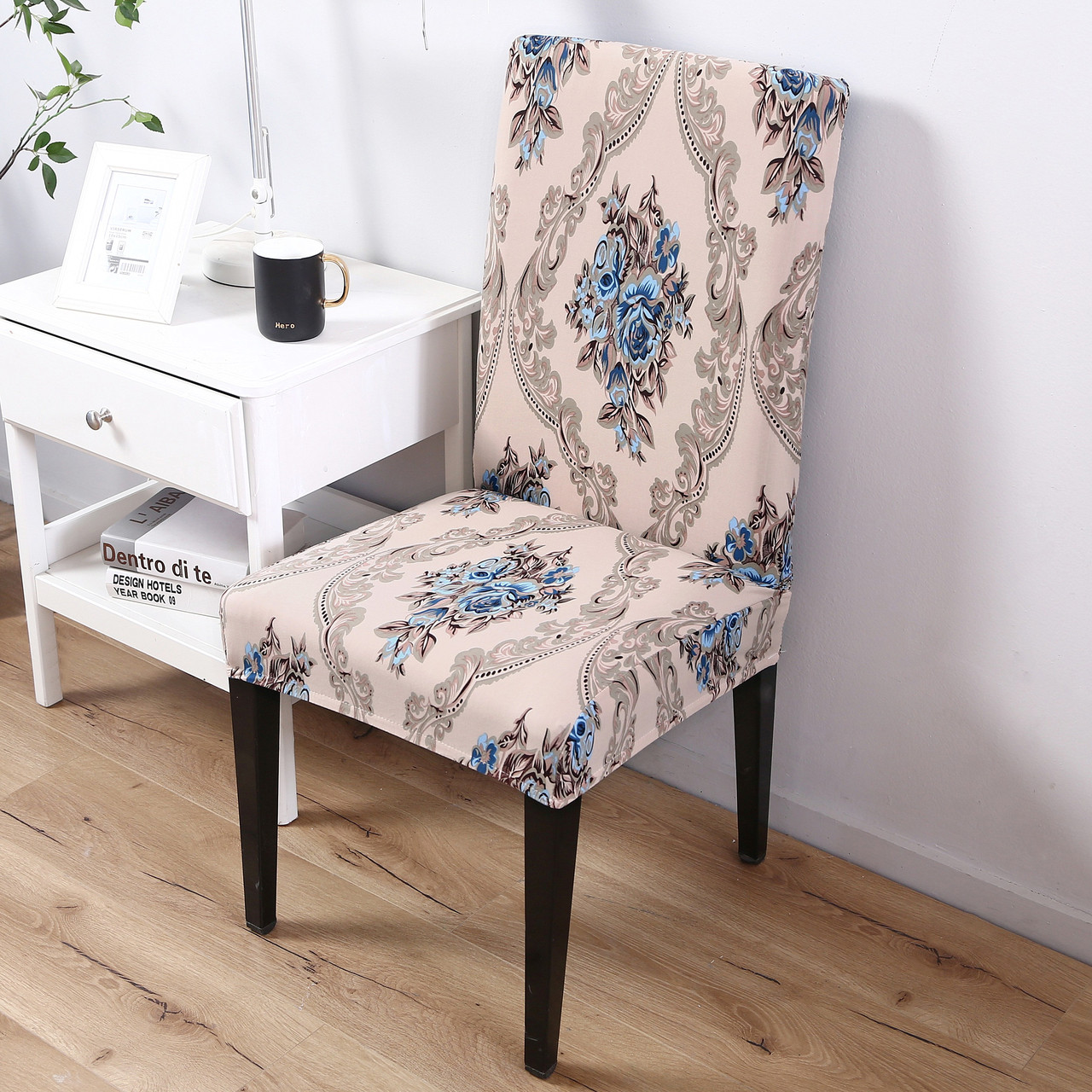 Dining Chair Slipcover Brown Pattern Elegant Polyester And Spandex Stretch Washable Dining Chair Slipcover Chair Cover