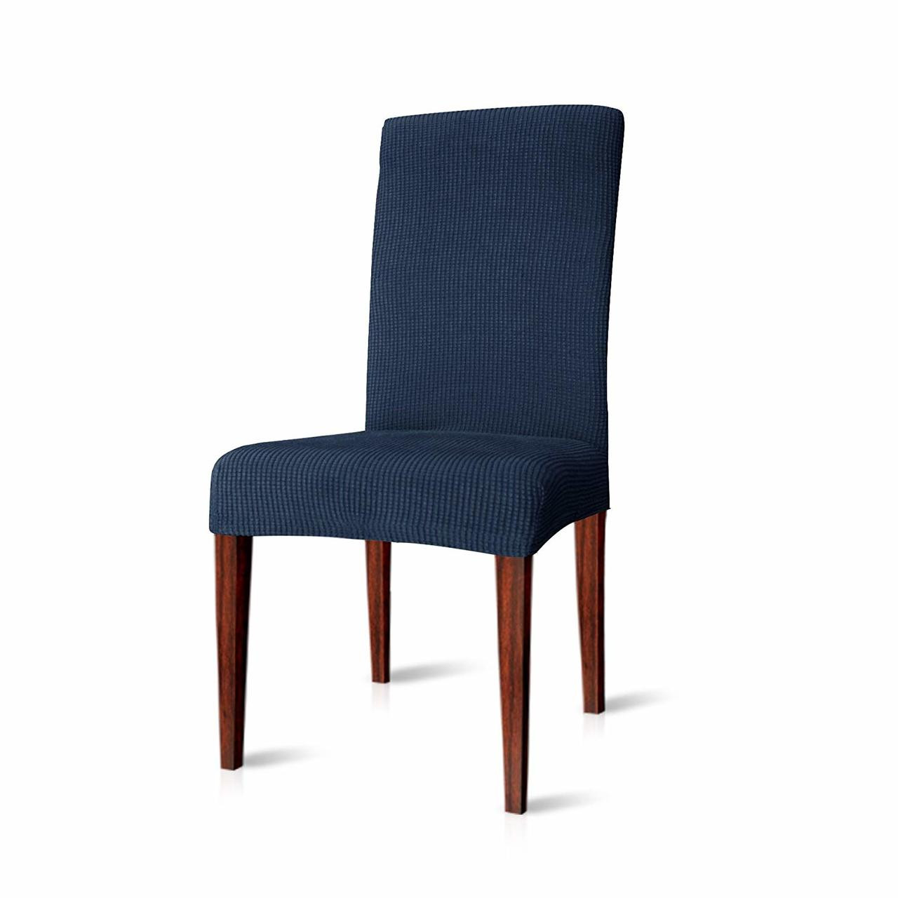 Dining Chair Slipcover Elegant Knitting Jacquard Box Cushion Dining Chair Slipcover Dark Blue