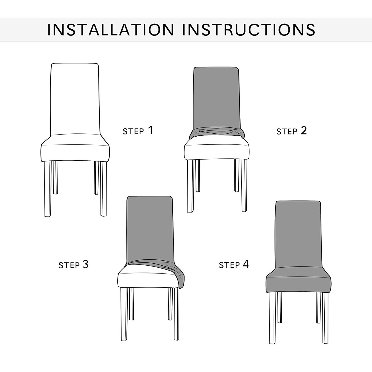 Steel Blue Ultra Soft Stretch Fabric Dining Chair Slipcovers Removable Anti Dirty Fitted Furniture Protector Set Of 4 Enova Home