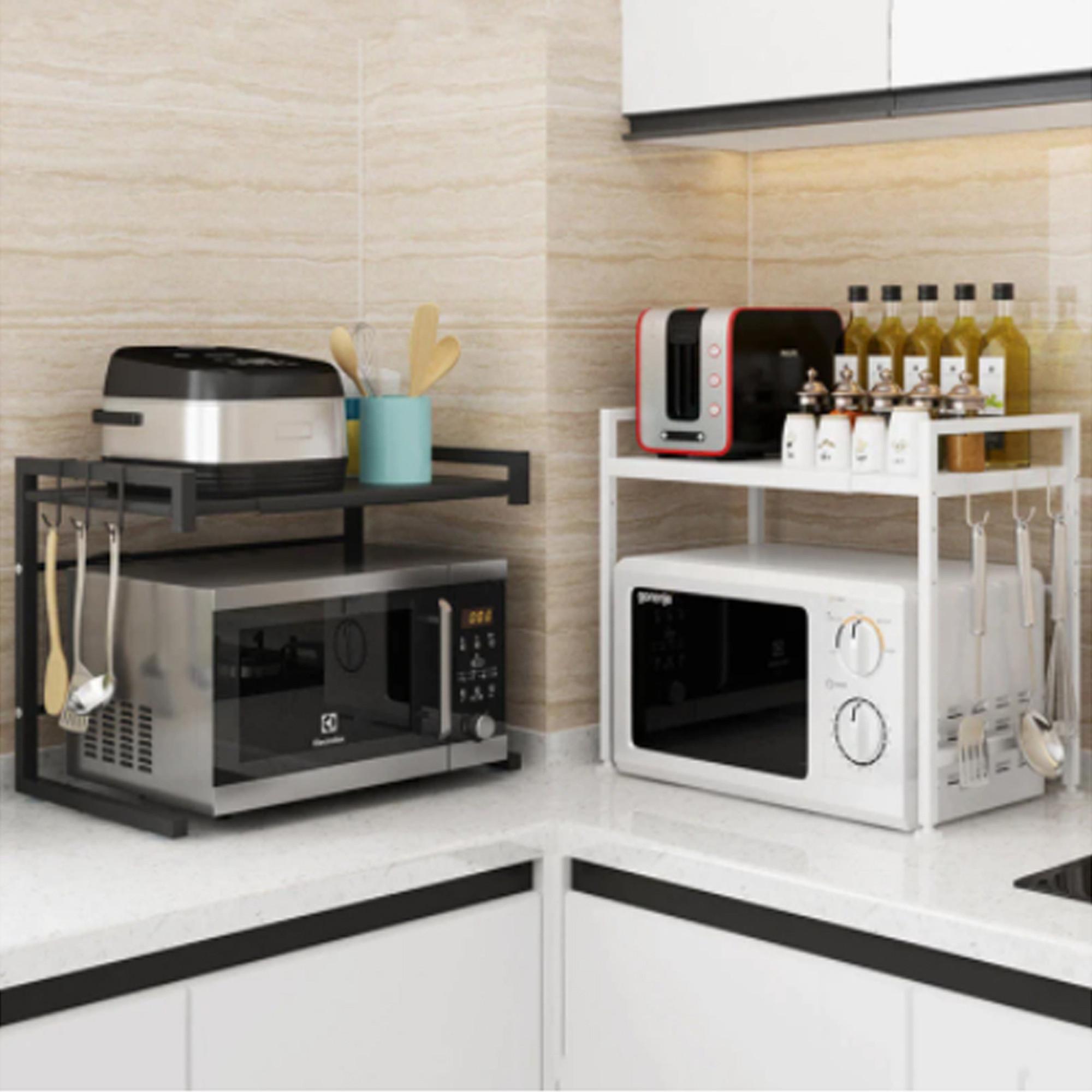 microwave oven rack retractable microwave oven rack shelf kitchen counter black