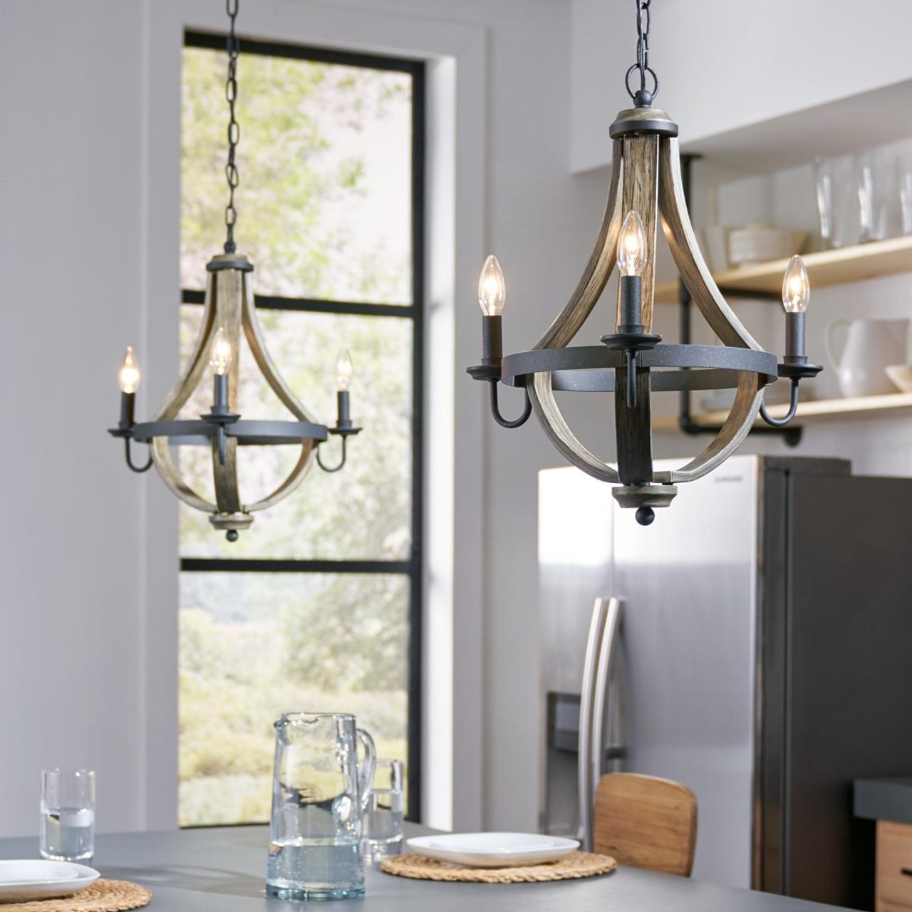 merlot 20 3 light distressed black wood finish chandelier by kichler lighting