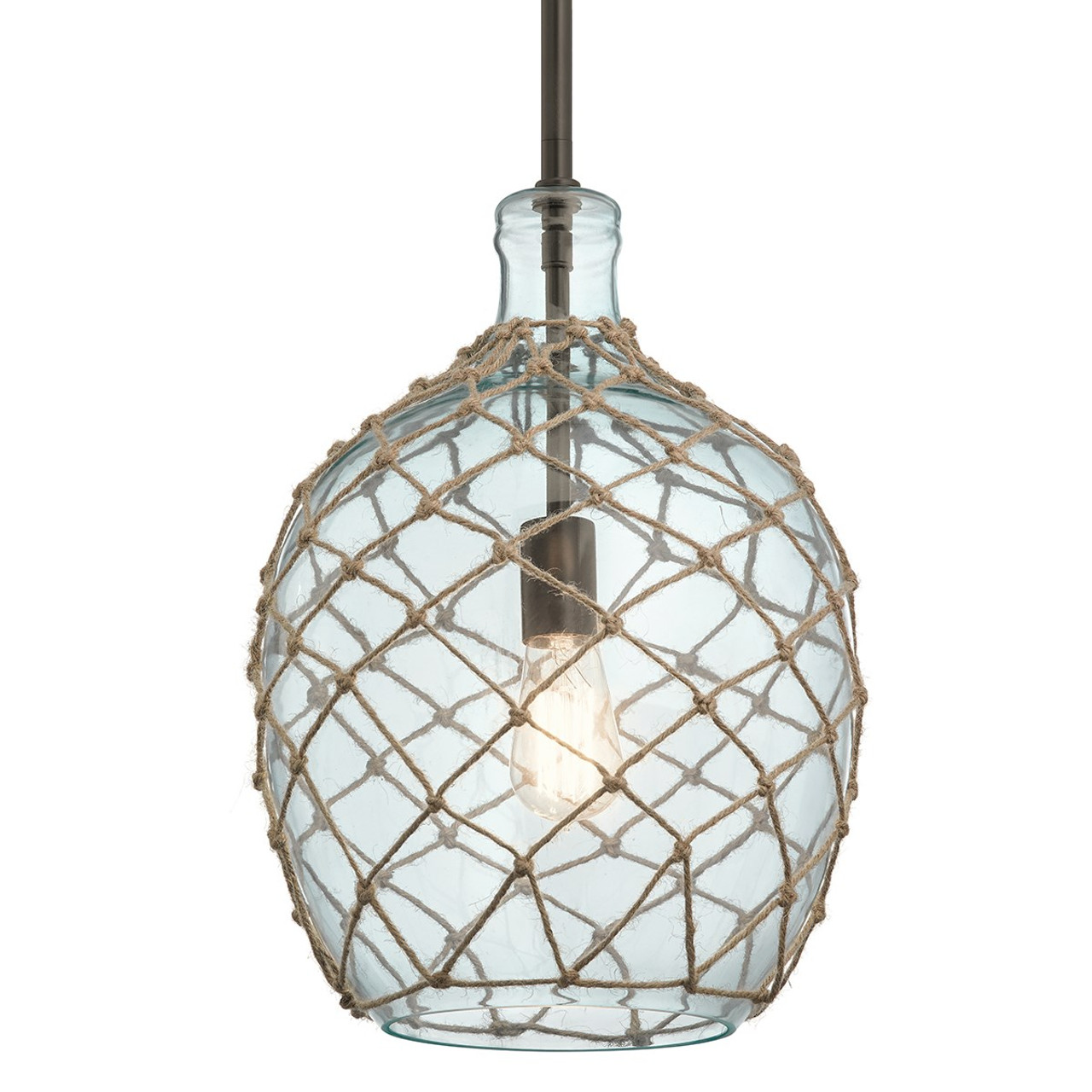 https thelightingshoppe ca montane 12 1 light clear glass pendant rope accents by kichler lighting