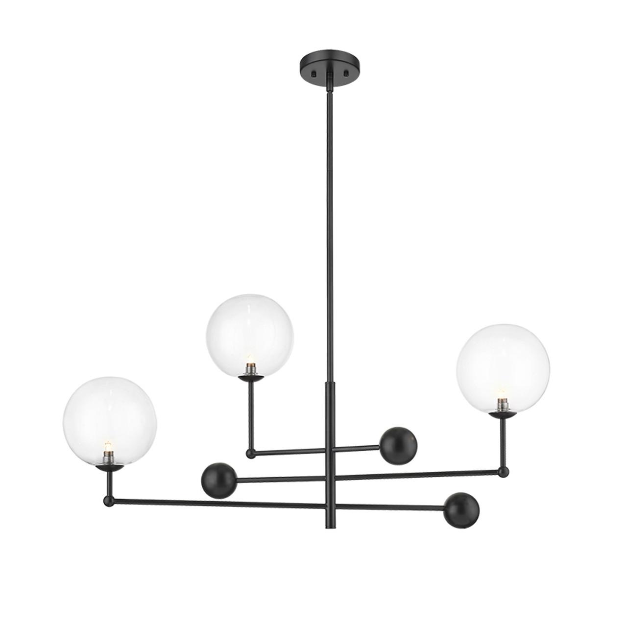 new york 3 light black modern adjustable pendant by mirage lighting