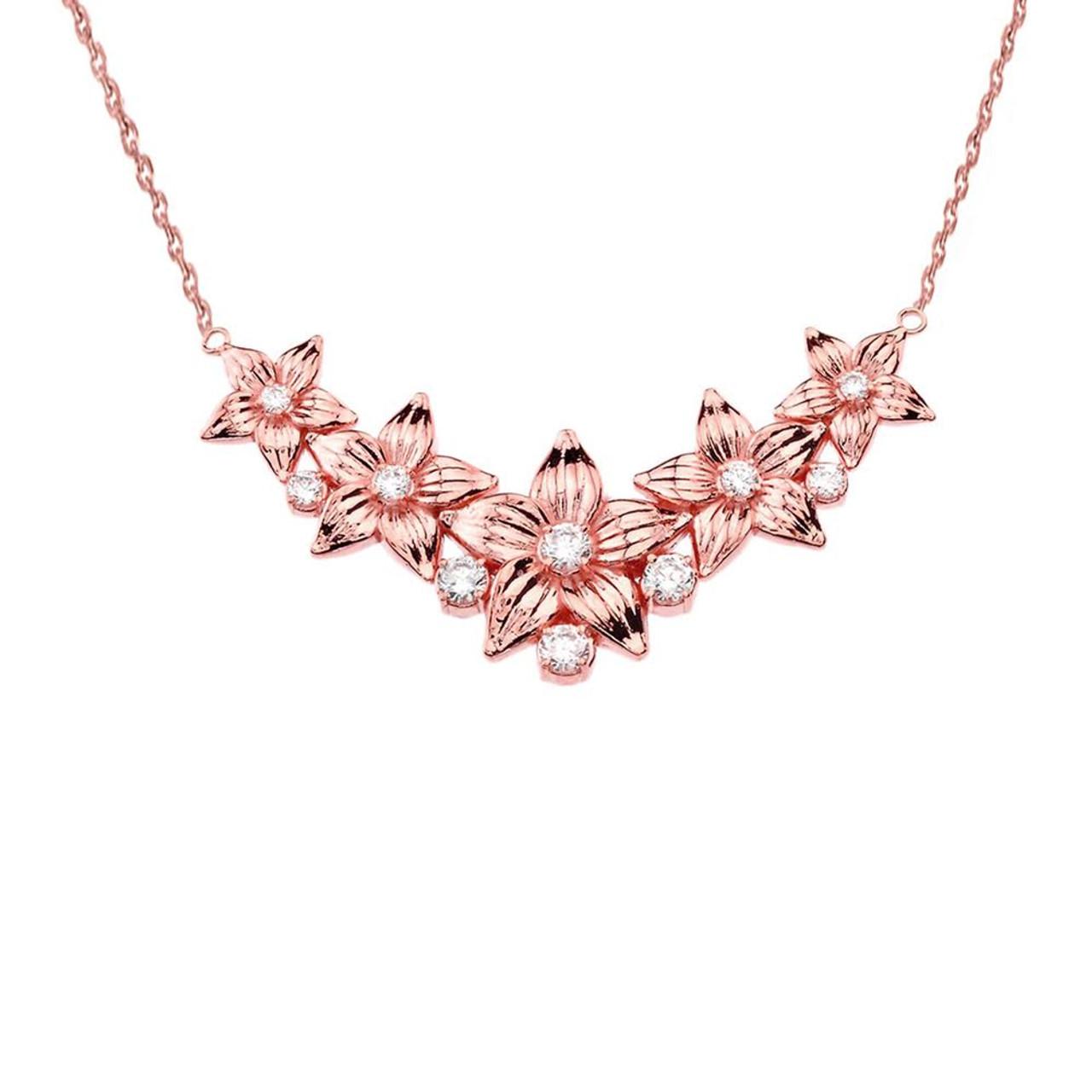 14k elegant diamond flower