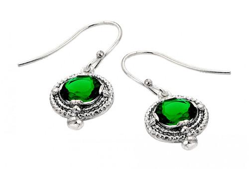 Oxidized 925 Sterling Silver Elegant Emerald Earrings