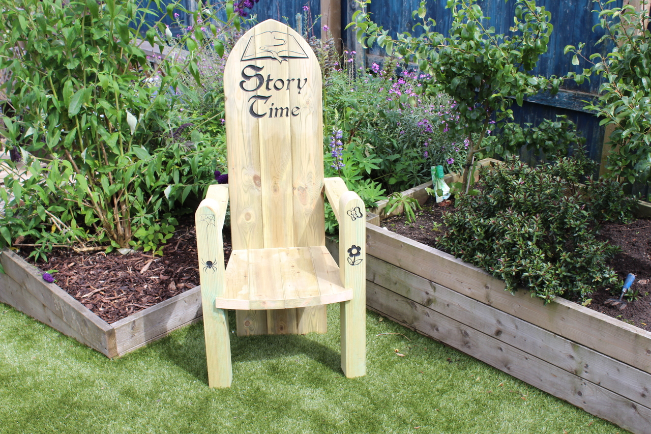 Storytime Chair Outdoor Large Hand Made Wooden Storytime Chair With Graphics