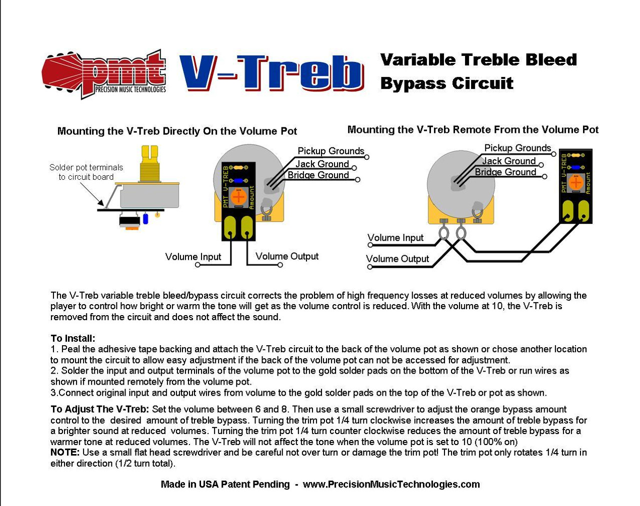 hight resolution of  v treb variable treble bleed circuit 3 pack on les paul pickup wiring