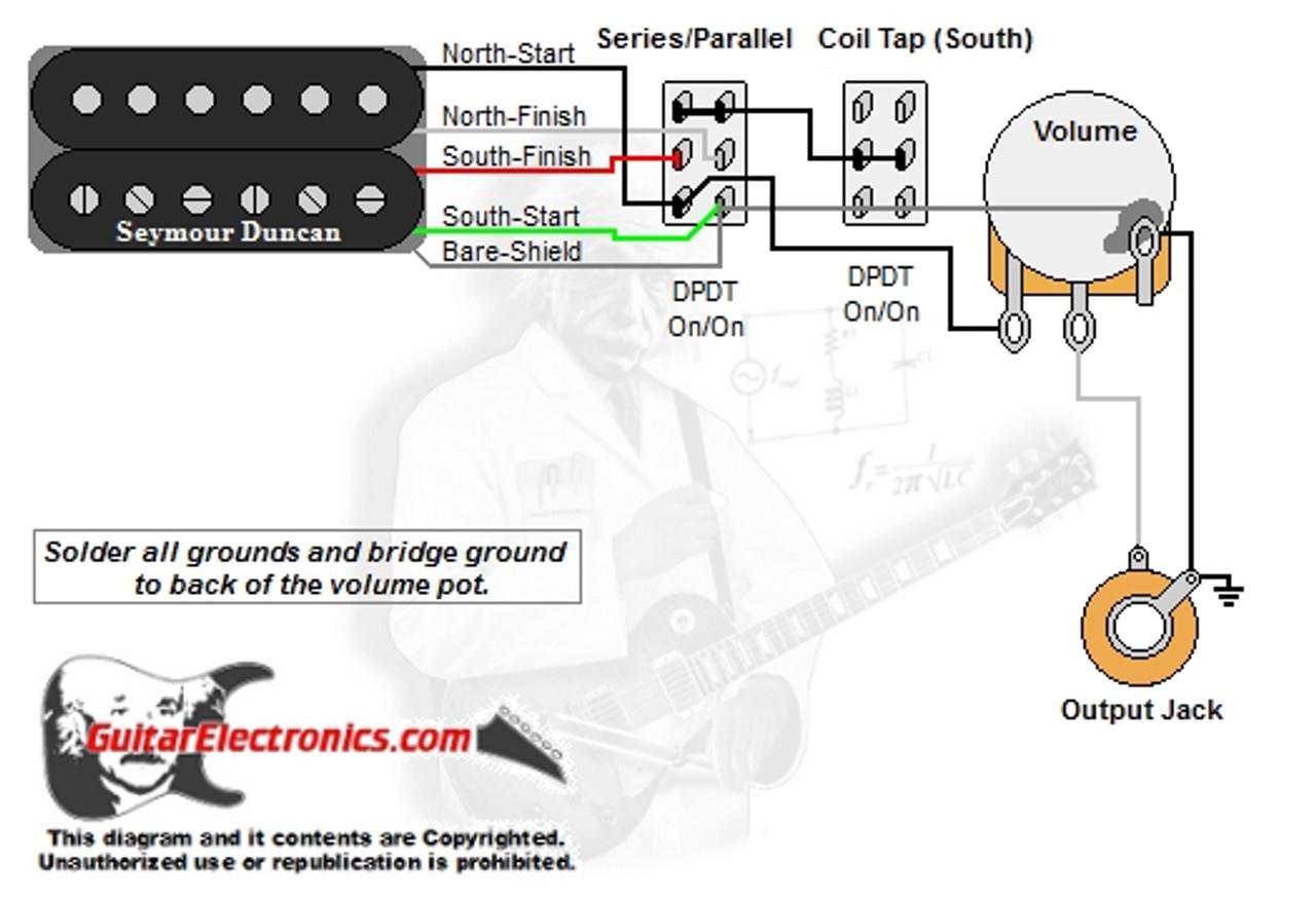 1 humbucker 1 volume series parallel u0026 coil tap south dimarzio wiring diagram [ 1280 x 875 Pixel ]