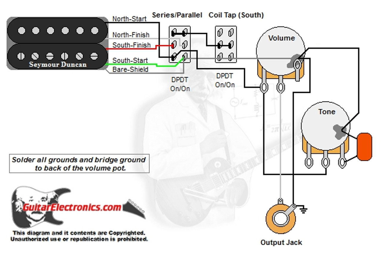 1 humbucker 1 volume 1 tone series parallel coil tap south guitar wiring diagram coil tap [ 1280 x 851 Pixel ]