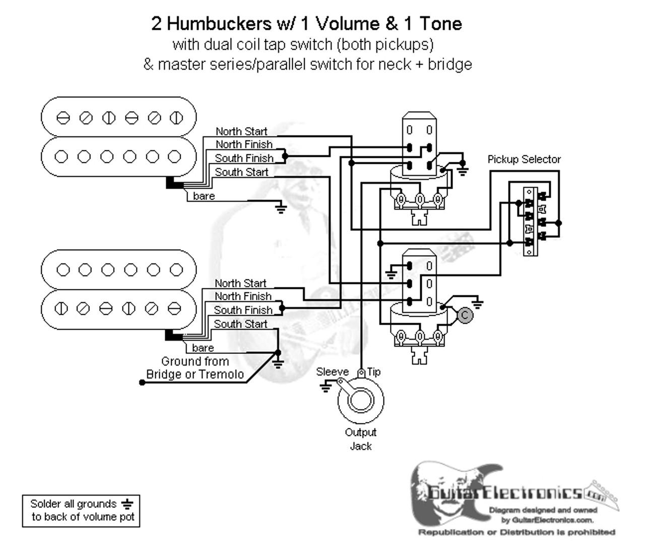 2 hbs 3 way lever 1 vol 1 tone coil tap u0026 series paralleltwo humbucker [ 1280 x 1083 Pixel ]