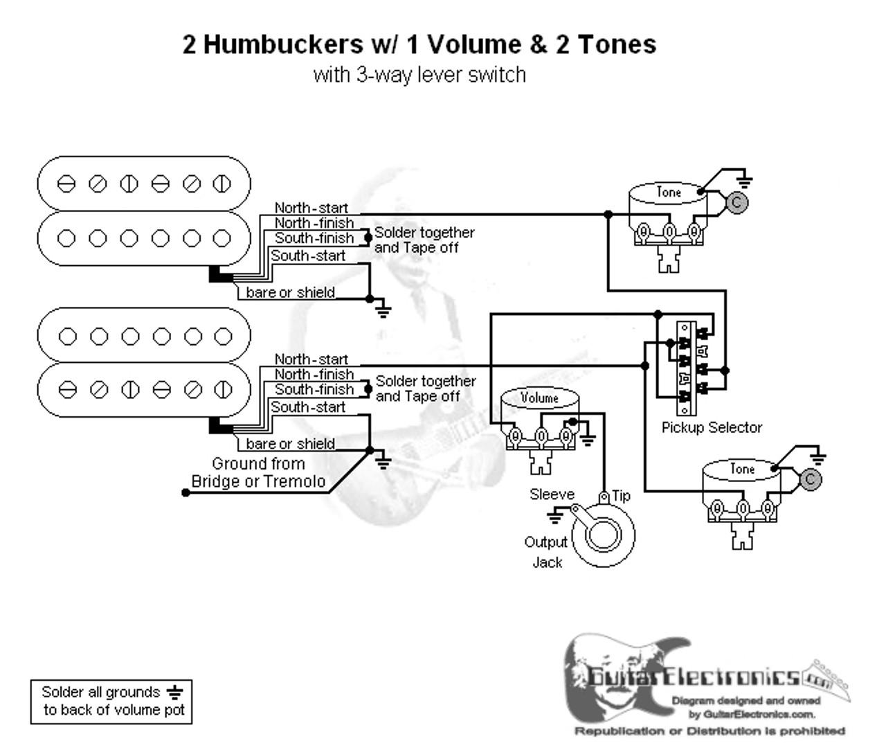 small resolution of strat wiring diagram 1 volume 2 tones auto wiring diagram2 humbuckers 3 way lever switch 1 volume 2 tones hss strat wiring diagram 1 volume 2 tone strat