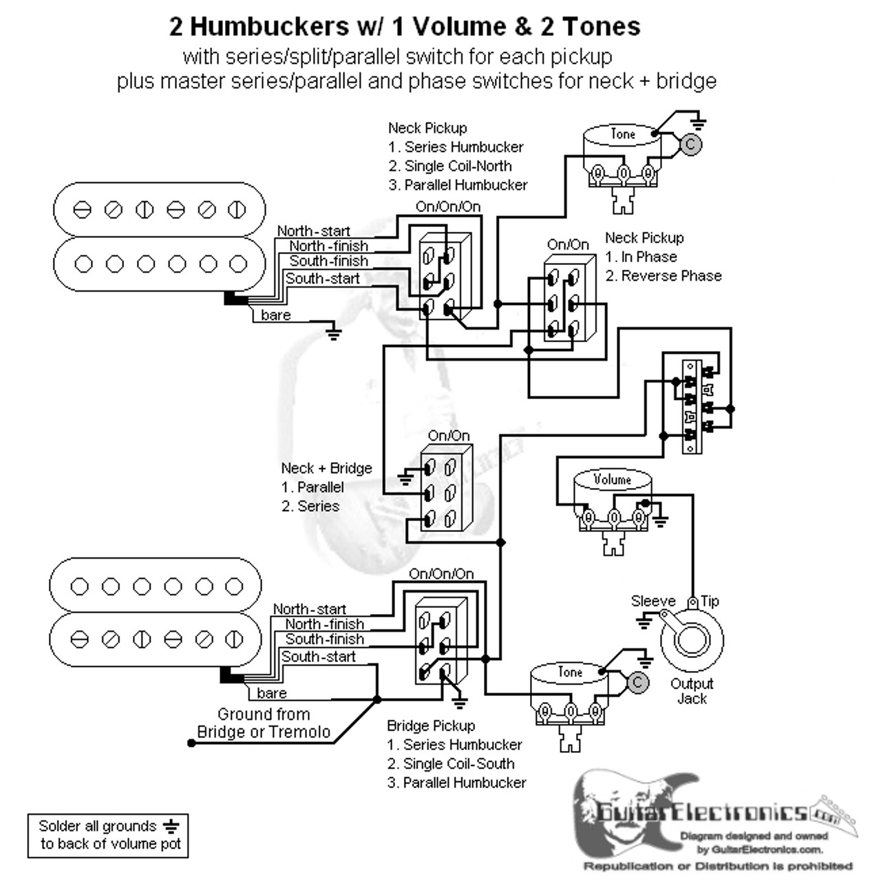 the schematic below shows 2 reverse wiring pickup volumes with a 2 hbs 3 way lever [ 1280 x 1280 Pixel ]