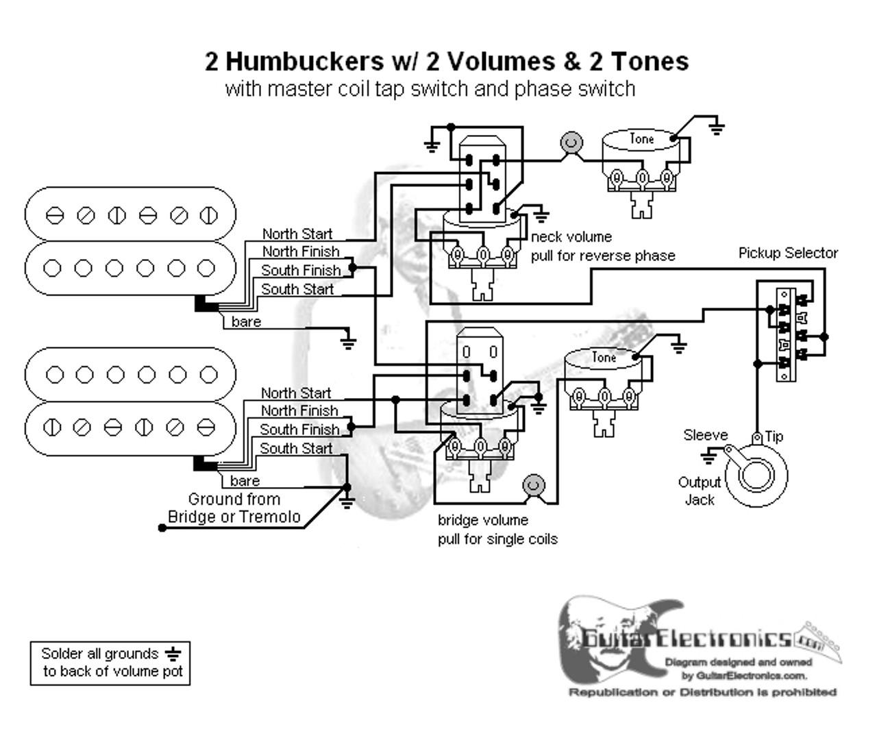 medium resolution of 2 hbs 3 way lever 2 vol 2 tones coil tap u0026 reverse phasesound bridge